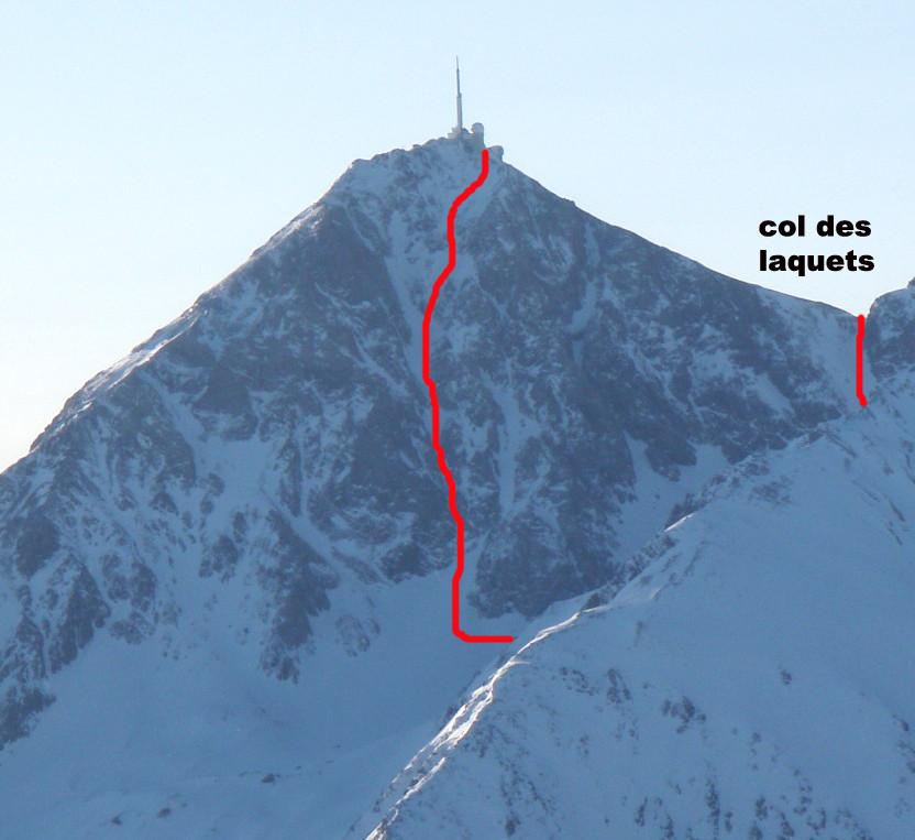 Pic du Midi de Bigorre : Couloir W (tracé)