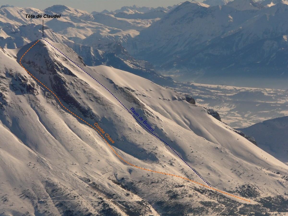 Tête de Claudel - Combe Chave >> Face SW (Ravin de Brûlant) [itinéraire à ski]