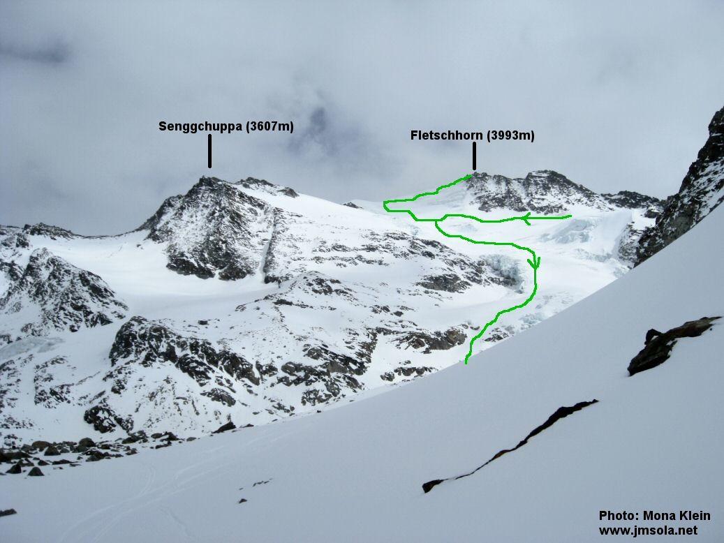 Le Grüebugletscher vu depuis le pied nord du Inner Rothorn à 2900m)