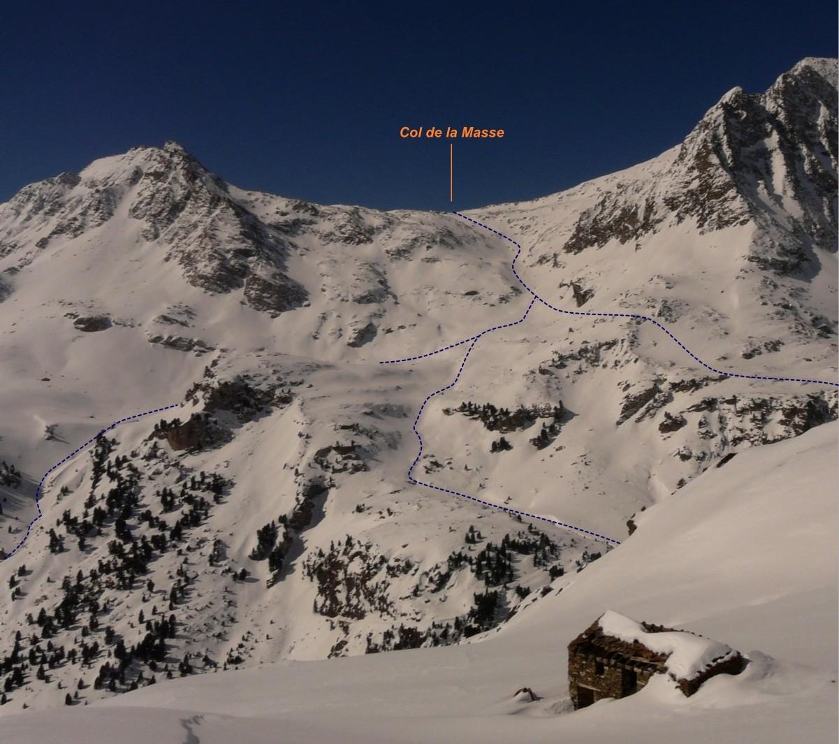 Col de la Masse - Versant E (itinéraire à ski)