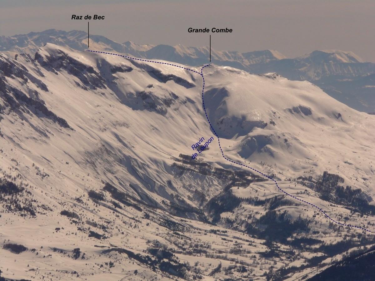 Raz de Bec - Grande Combe (itinéraire à ski)