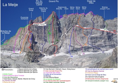 11 and 12 : Arête du promontoire and traverse of the ridges