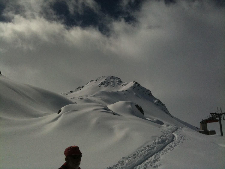 Winterhorn, face E, depuis le haut des installs