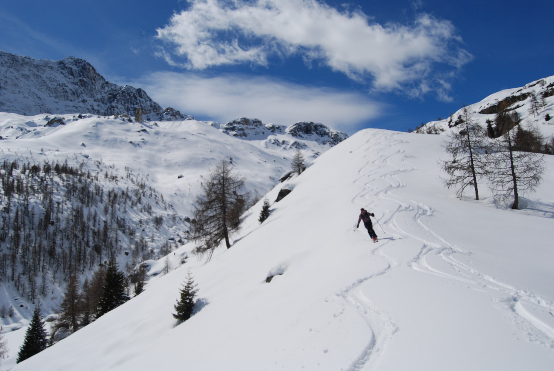 Gianluca durante la discesa presso l'Alpe Cancian 2100 m.