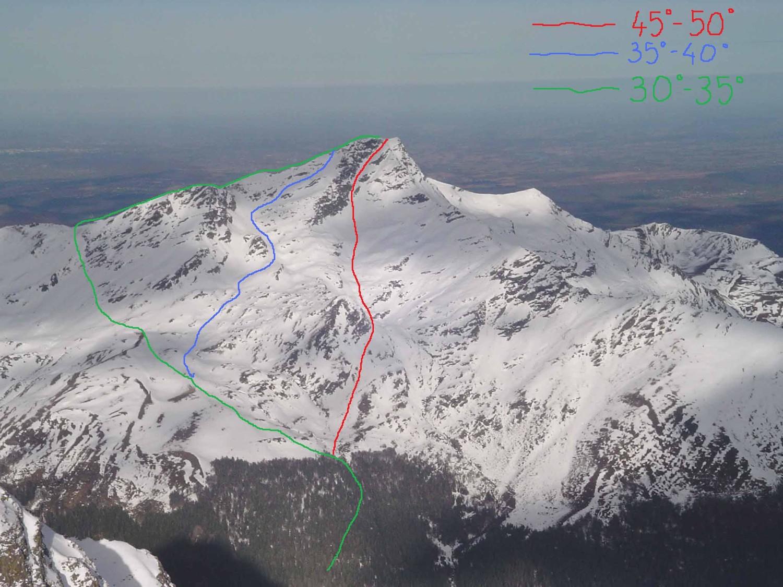 itinéraires en face sud du Montaigu