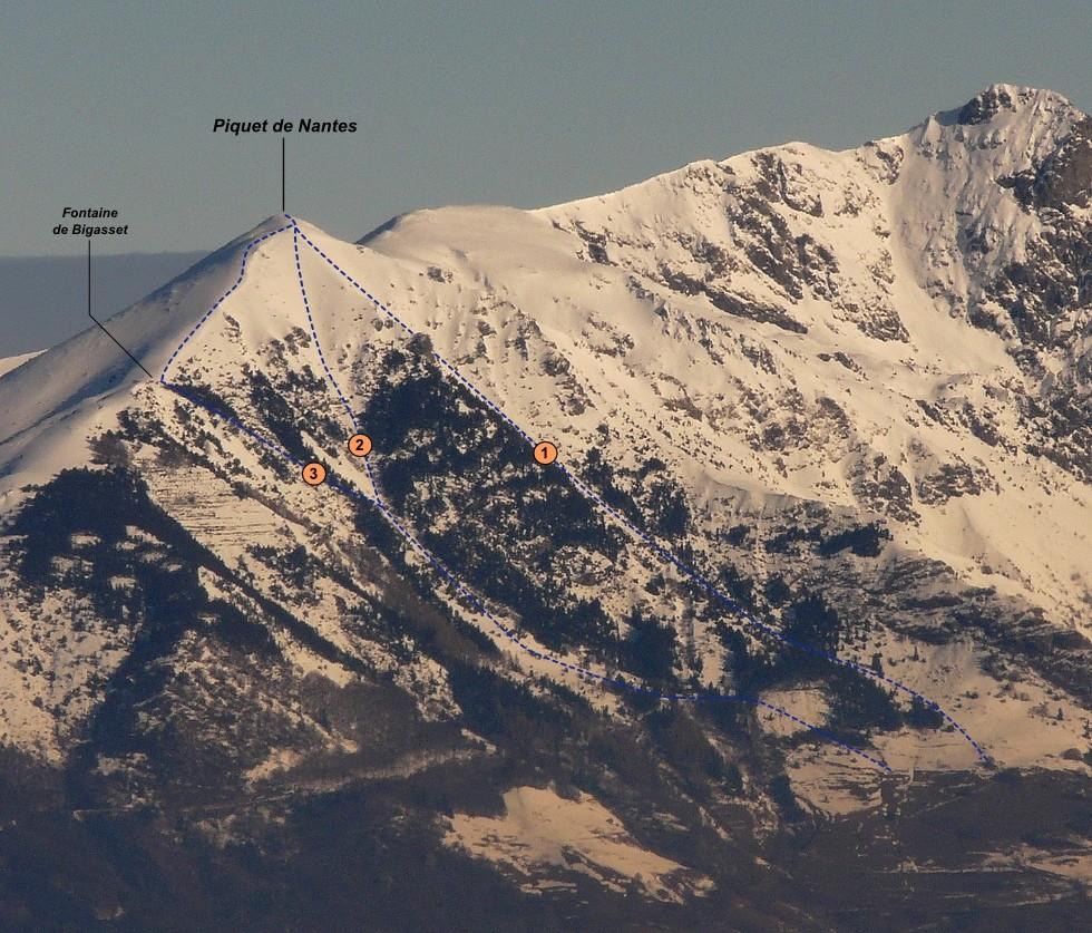 Piquet de Nantes - Face SE (itinéraire à ski)