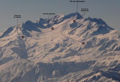 Pic de l'Etendard: (1) Versant NE (voie normale) (2) par la cime de la Valette (3) par le Col des Quirlies (4) par le Col de la Barbarate