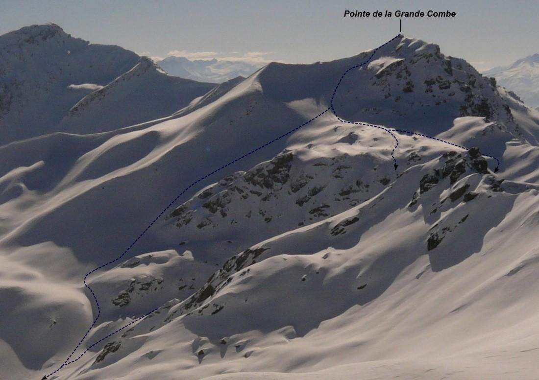 Pointe de la Grande Combe - Versant NE (itinéraire à ski)