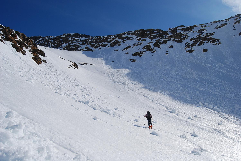 Durante la salita nel vallone  alla Piramide ovest di Somalbosco 3087 m.