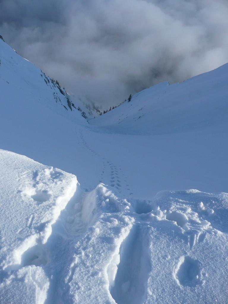 Cheval Blanc, couloir Nord vu du haut.
