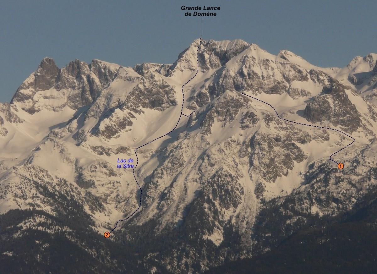 Grande Lance de Domène - Face NW (itinéraire à ski)