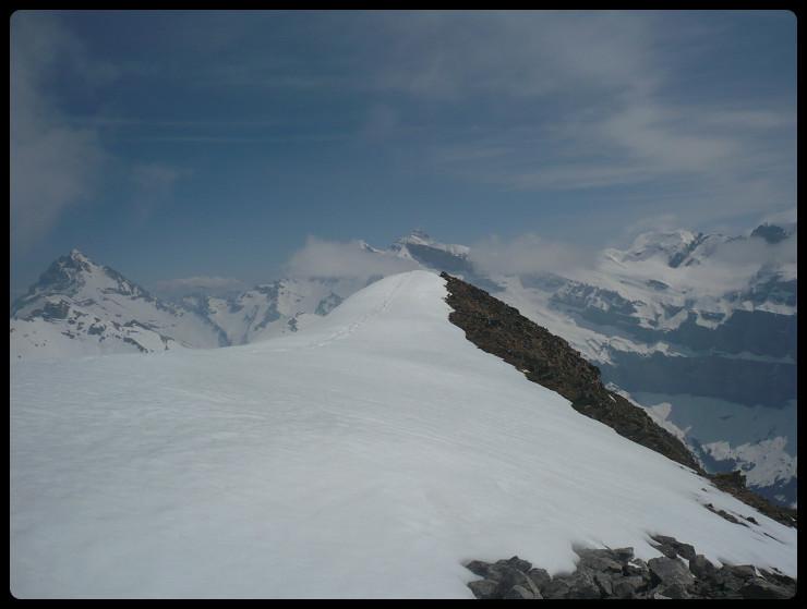 Sommet. Au loin, Haute Cime, Mont Ruan...