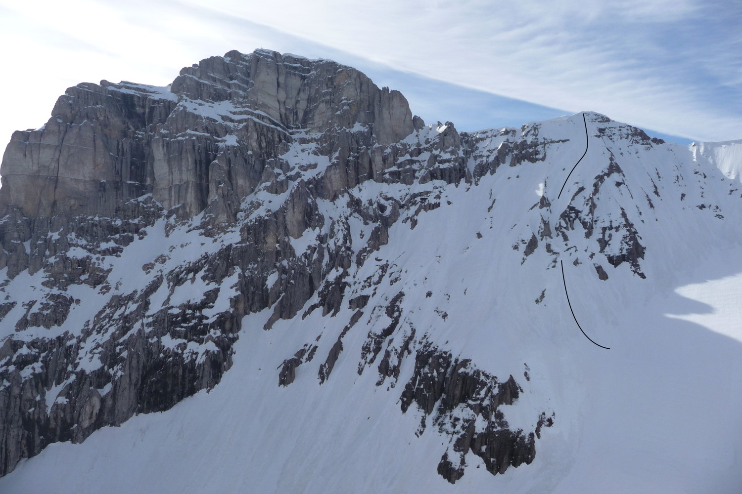 Obiou, Face NW du Malpasset, couloir direct