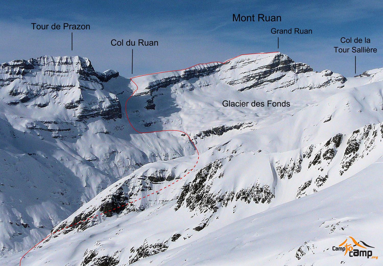 Mont Ruan, col du Ruan, arête SW