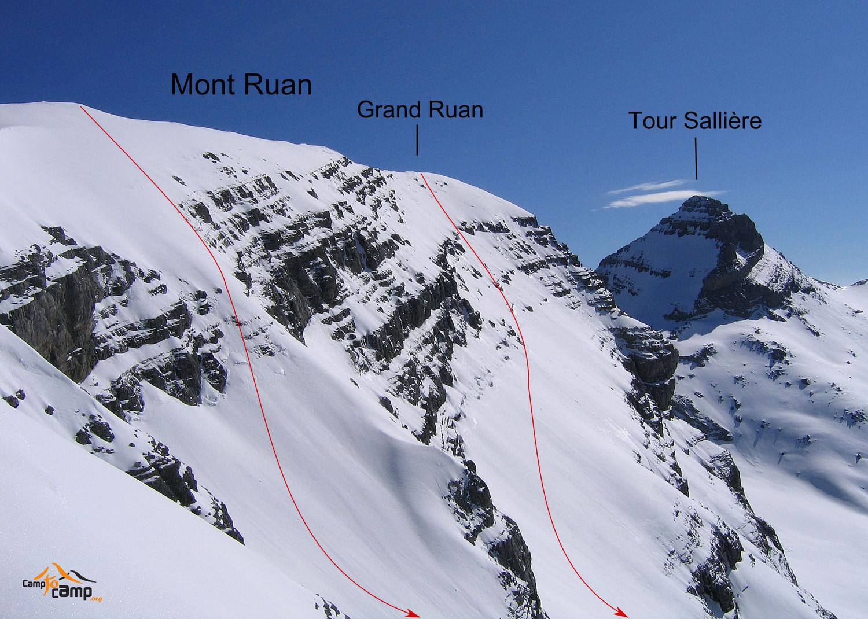 Mont Ruan départs des itinéraires face S