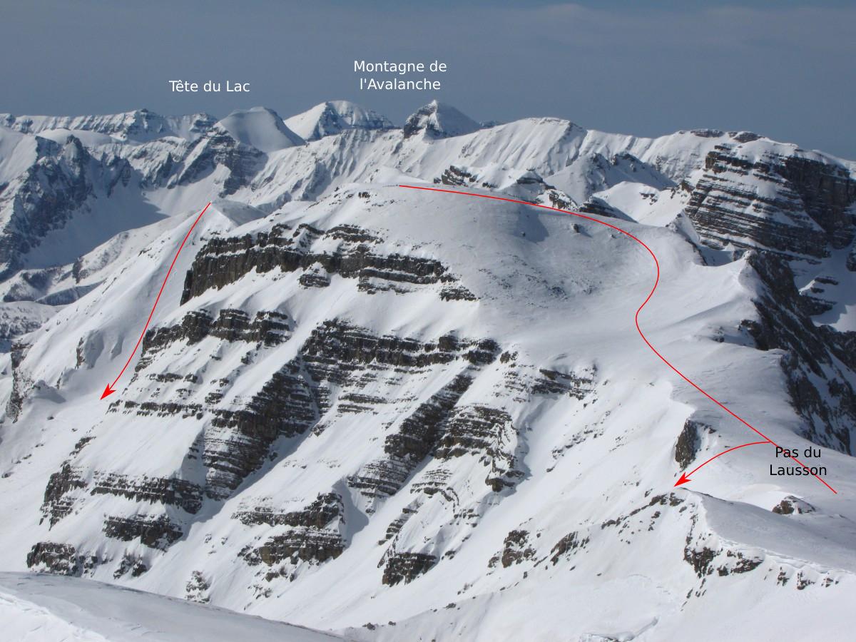 Sommet et versant E de la Montagne de l'Avalanche, Pas du Lausson