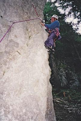 Trois Feuillets, ouverture 1ère longueur de Solitude 5b, en 1996