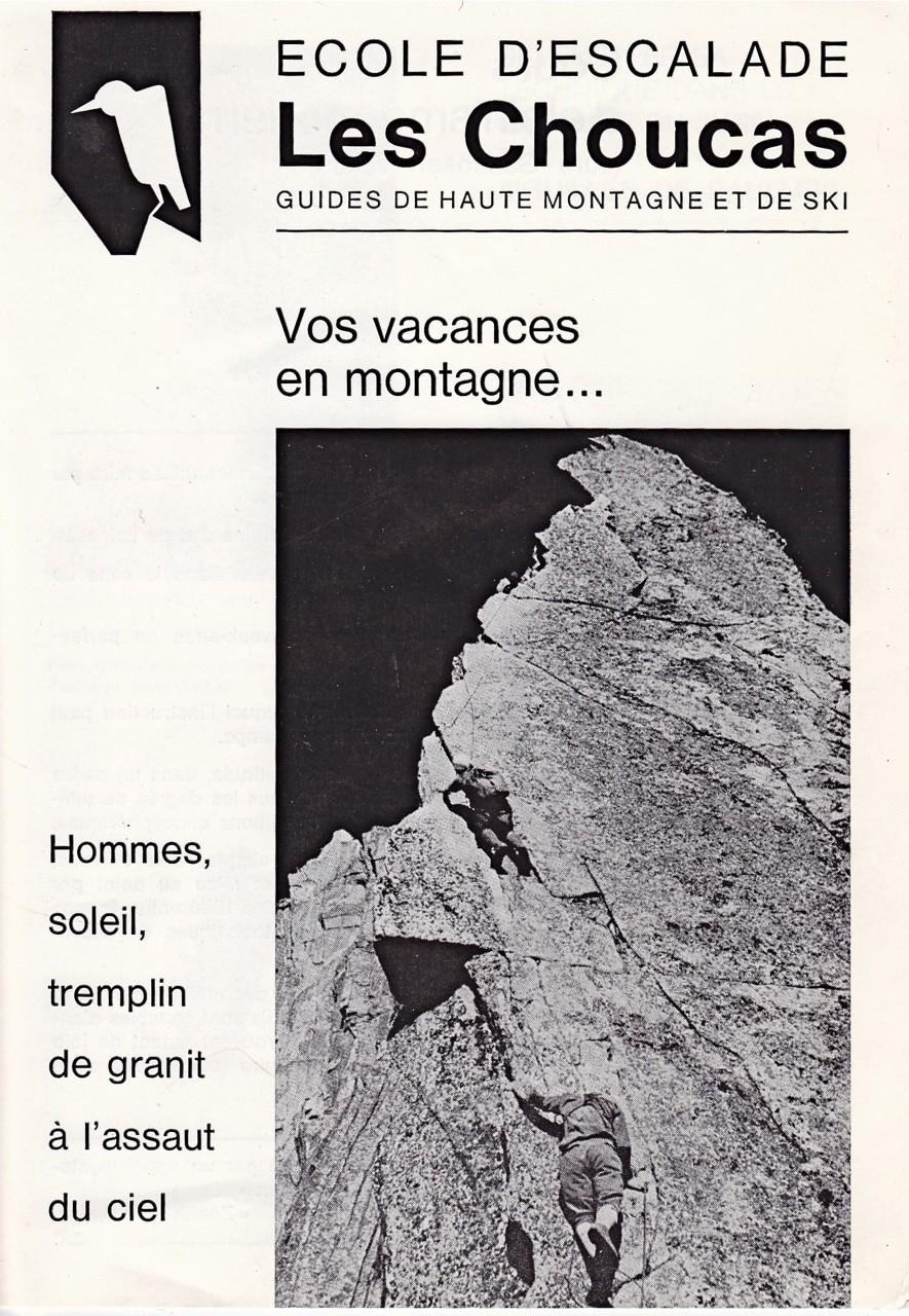 Années 1960: page 1 du prospectus de l'Ecole d'Escalade des Choucas aux Aiguilles de Baulmes