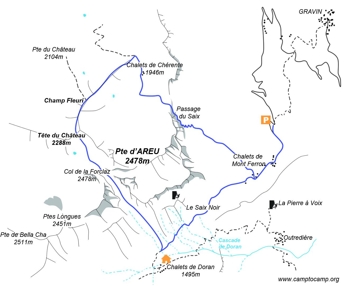 Itineraire Tour Pointe d'Areu