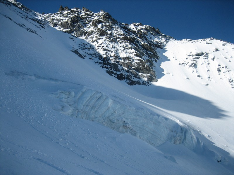 Sur le glacier face ouest de Péclet