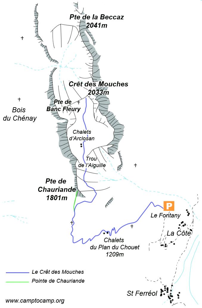 Itineraire Crêt des Mouches - Var Pte de Chauriande