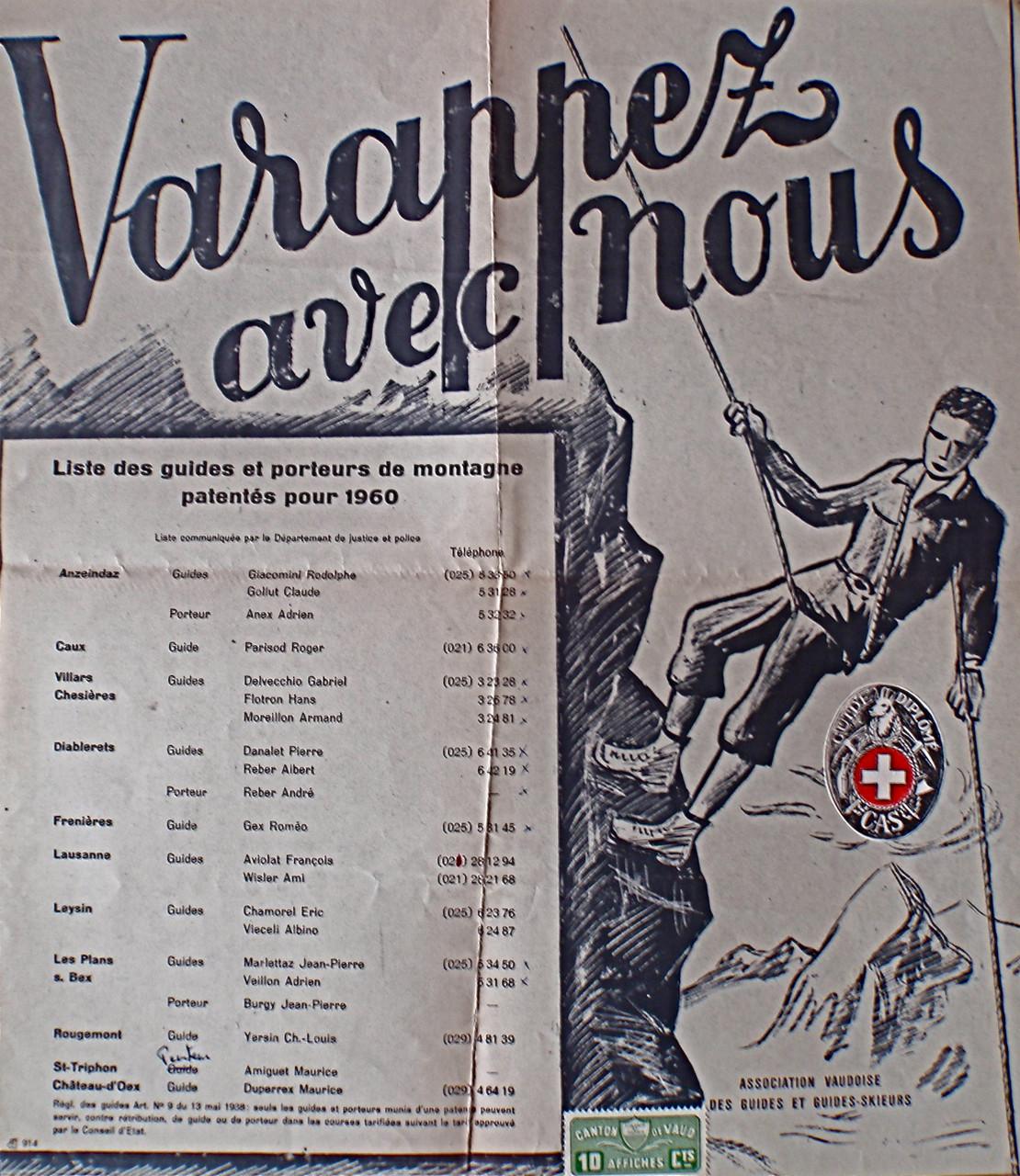 Liste des guides autorisés à pratiquer: le nom de l'artiste qui a dessiné l'affiche s'est perdu dans les temps révolus