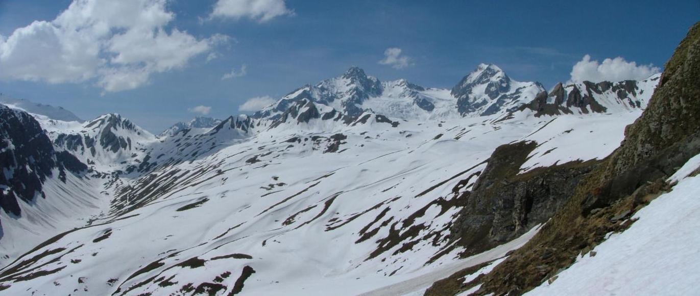 le Berrio Blanc : depuis la face SW, col des Chavannes, aiguille des Glaciers, Tré la Tête ...