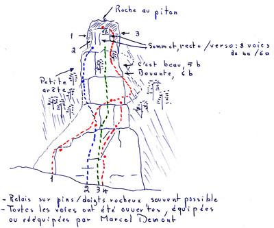 Petite  arête et Roche au piton, topo M. Demont