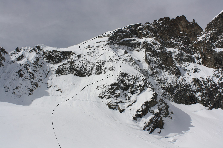 Le versant NE de la Pointe Swan, après la descente