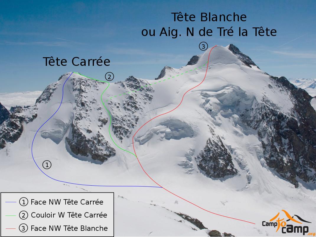 Tete Carrée et Tête Blanche - itinéraire en face N