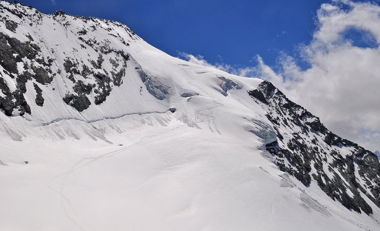 Depuis le Col des Roches, la face terminale, du classique !