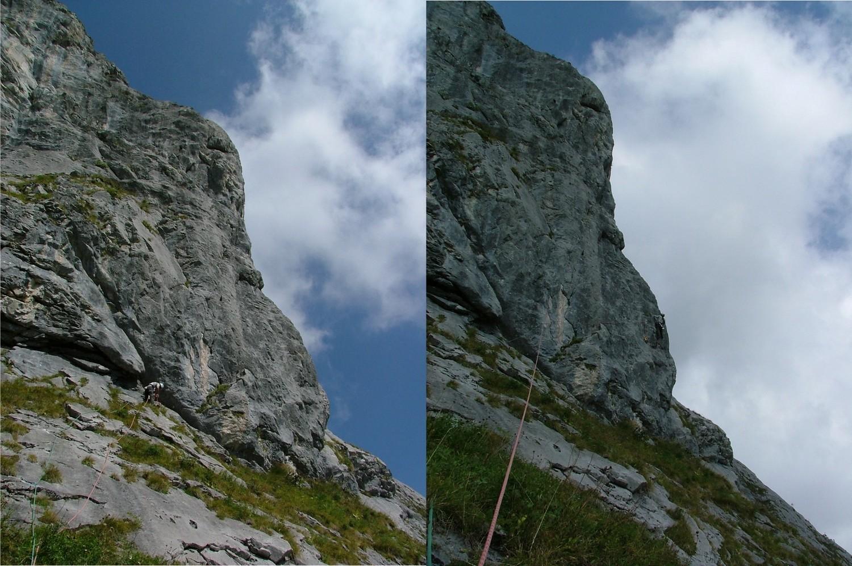 """Ligne de Vie : L22 dans le """"Grand Pilier"""", Philippe équipe le 1° point, plus haut le crux"""