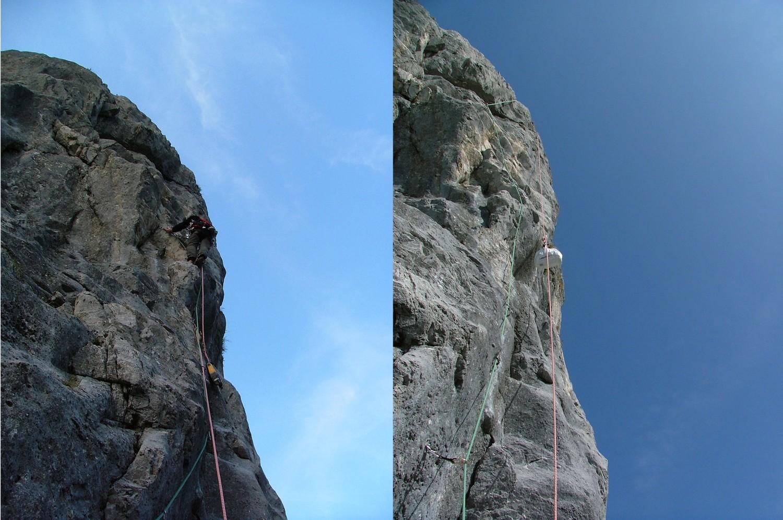 Ligne de Vie : équipement de L23, la corde juste pour avoir une idée de la verticalité du coin !