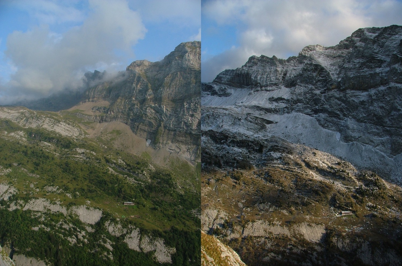 """Ligne de Vie : depuis R22 deux vues vers le refuge de Folly, en bas à gauche un morceau de """"les Copains d'Abord"""""""