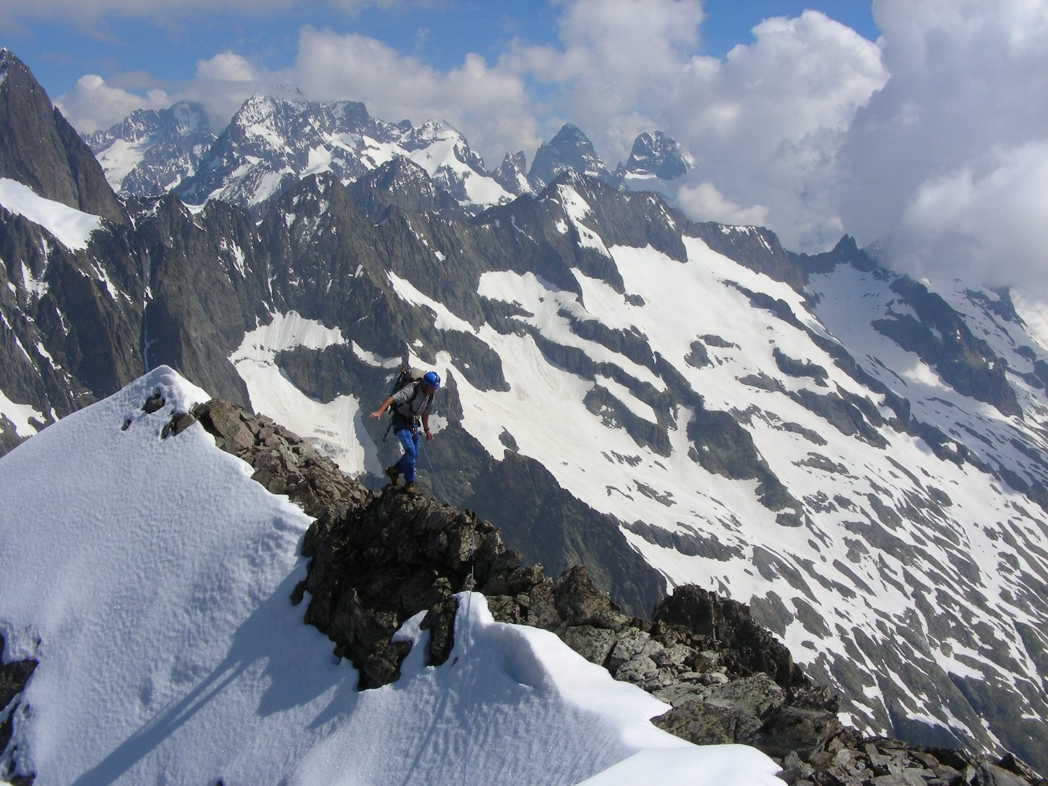 Reaching the summit ridge of the Jocelme
