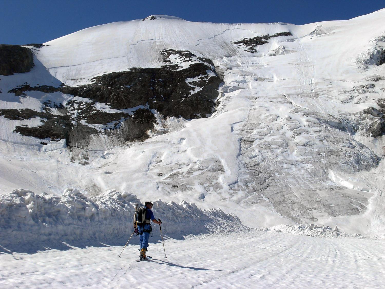 Tracce della enorme valanga staccatasi dal versante N del Gwachtenhorn