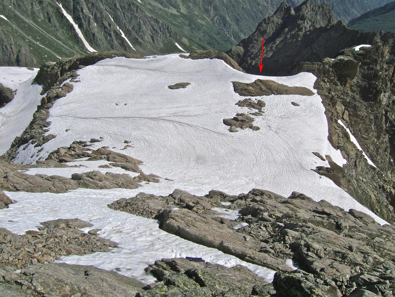 Le départ du couloir au niveau du plateau vers 2900m.