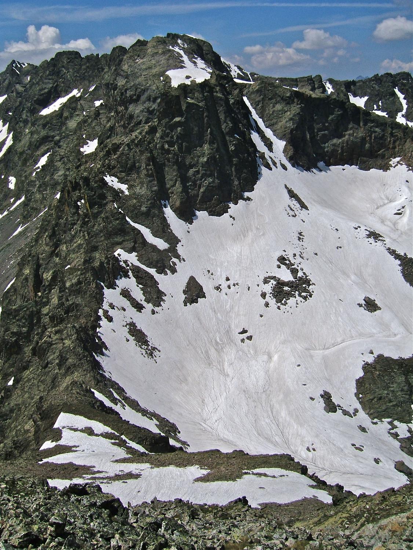 De Becco Alto del Piz vue sur Dente del Vallone et l'itinéraire de descente.