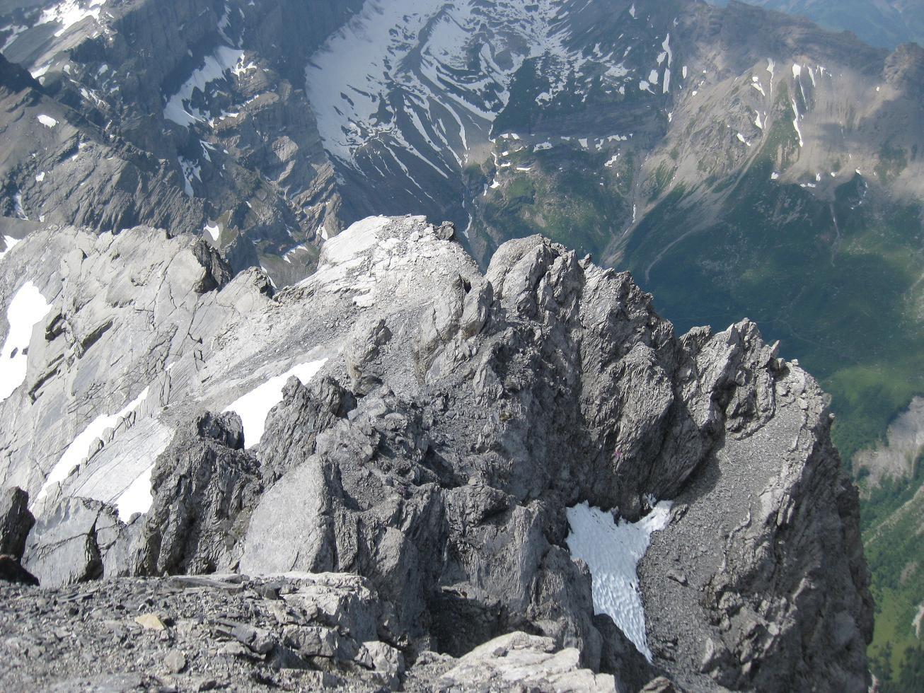 L'arête depuis le sommet