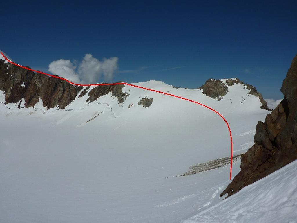 Passage sur le glacier de la Lée Blanche.
