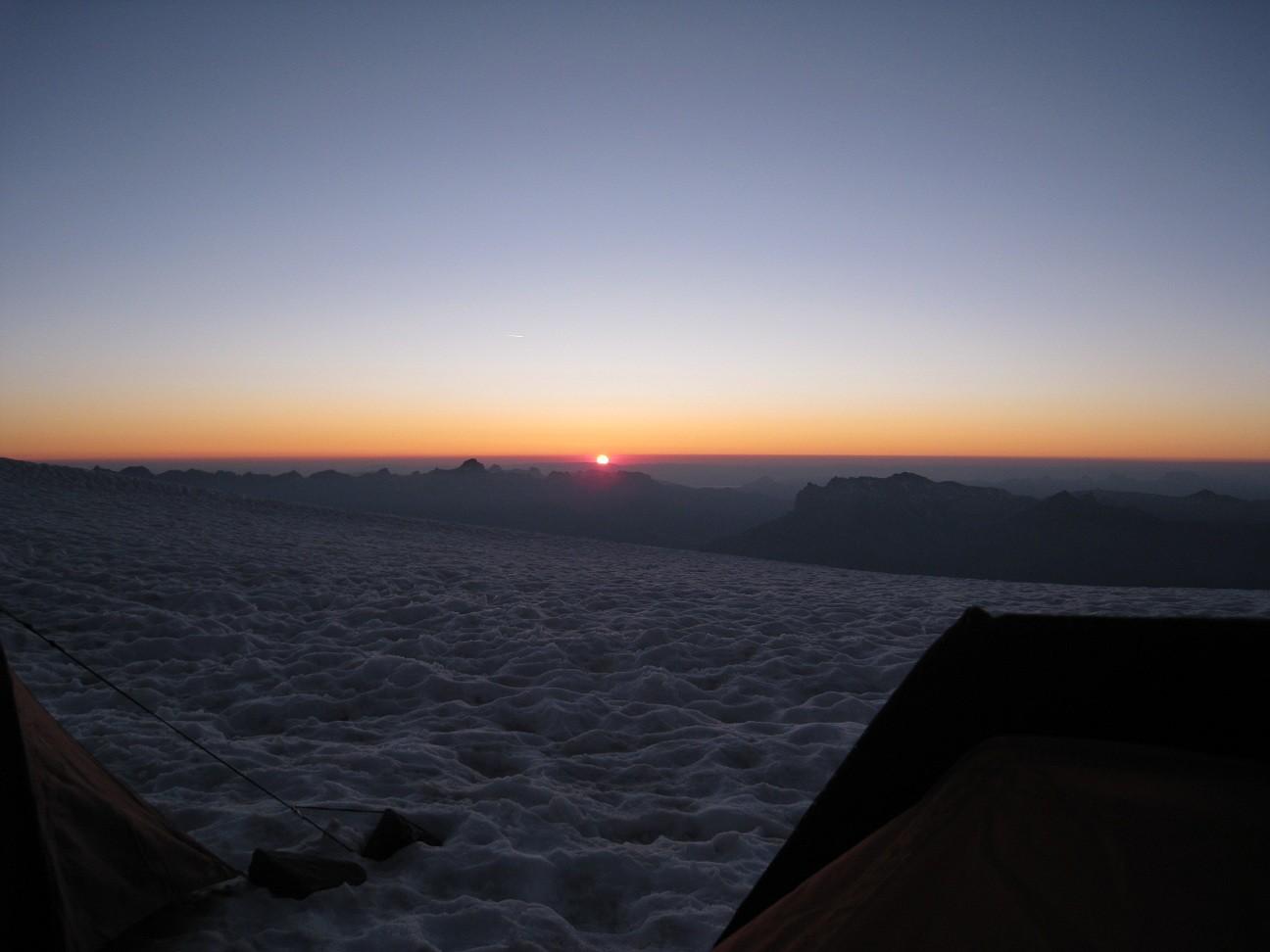 coucher du soleil -bivouac à Tête Rousse