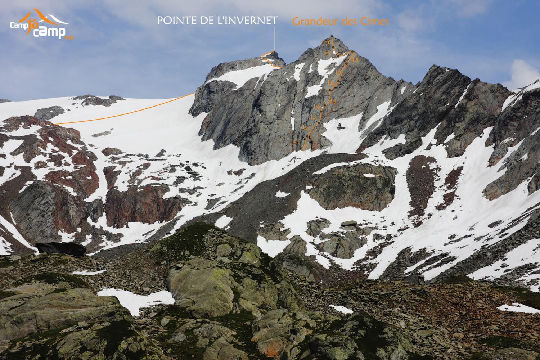 Pointe de l'Invernet, Grandeur des cimes - tracé