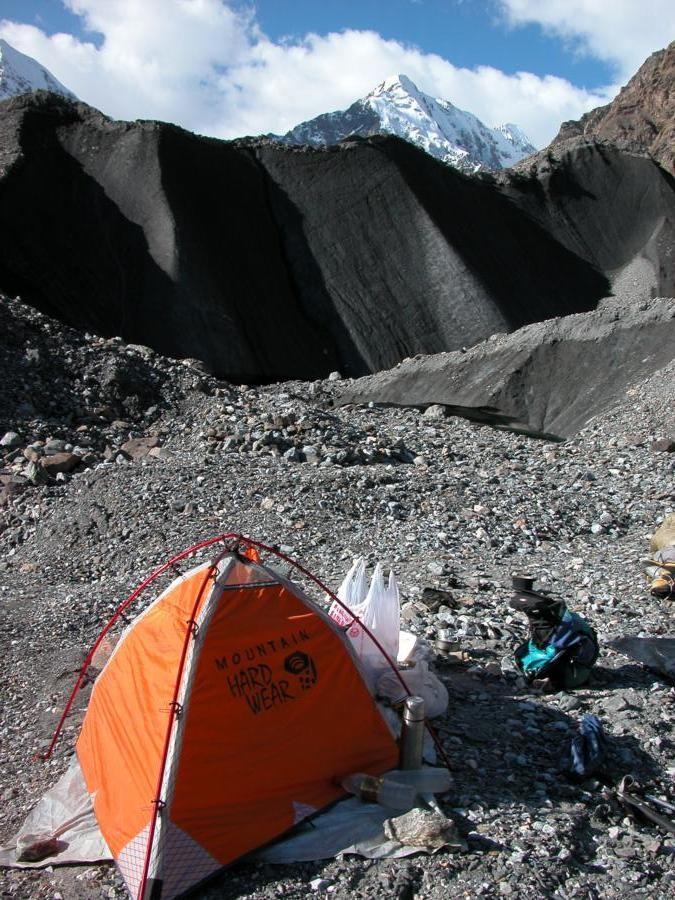 Premier bivouac sur le glacier deuxième jour de marche
