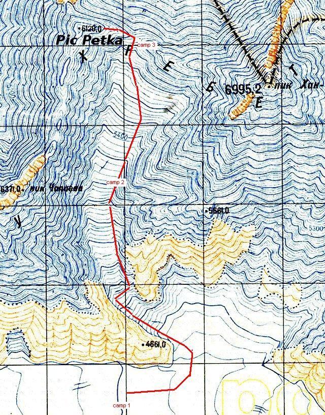 Itinéraire de la route Pogrebietski (commune au Khan tengri jusqu'au camp 3)