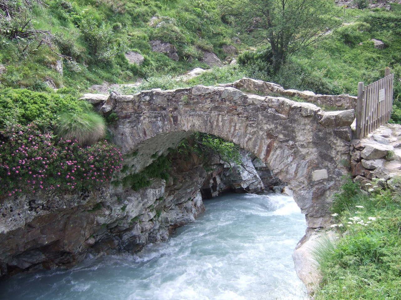 Pont en montant à la Lavey