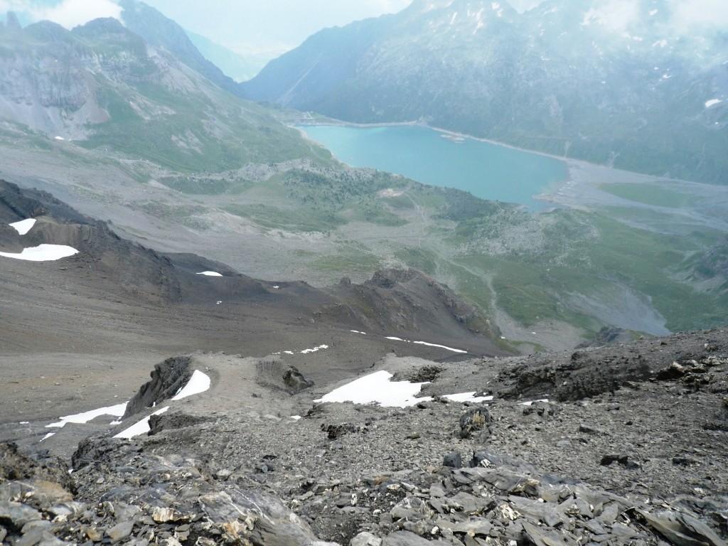 Versant E du col des Paresseux et lac de Salanfe