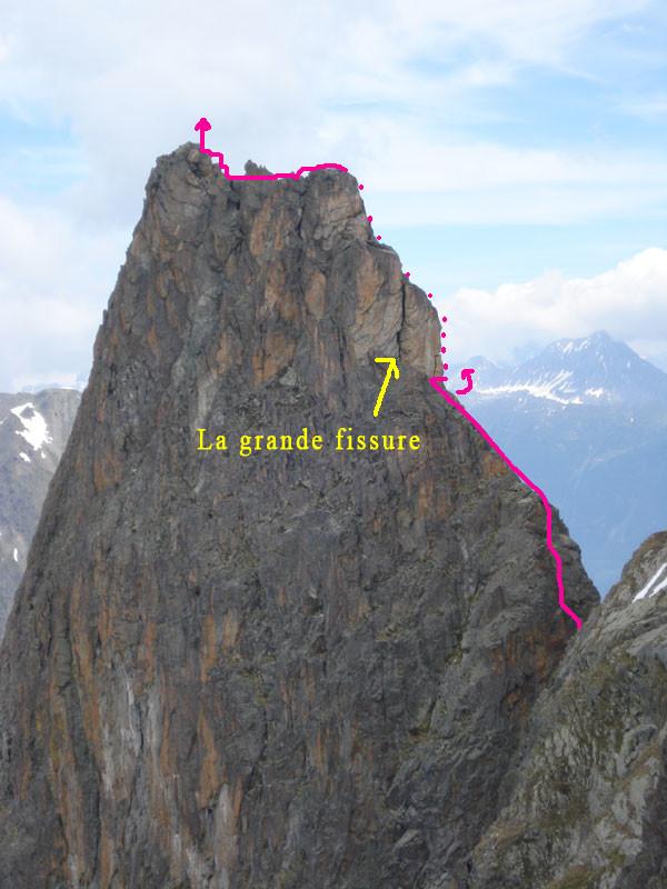 Passage de la fissure du Grand Perron sens SW-NE