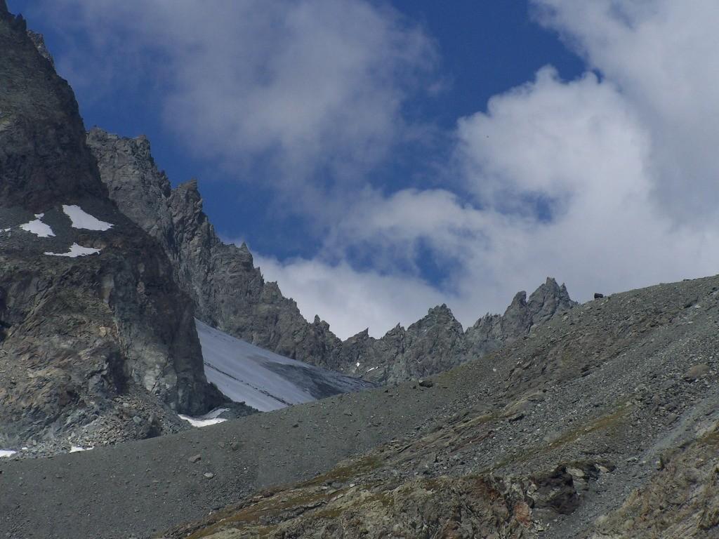 2peron Murani, arête N de la Bessanèse, col et glacier de la Bessanèse vu du lago d'Arnas