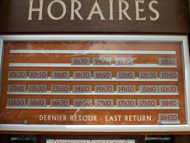 Horaires du train du Montenvers au départ du Montenvers (août 2010)