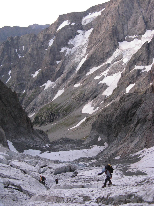 A l'attaque du glacier des Bans.